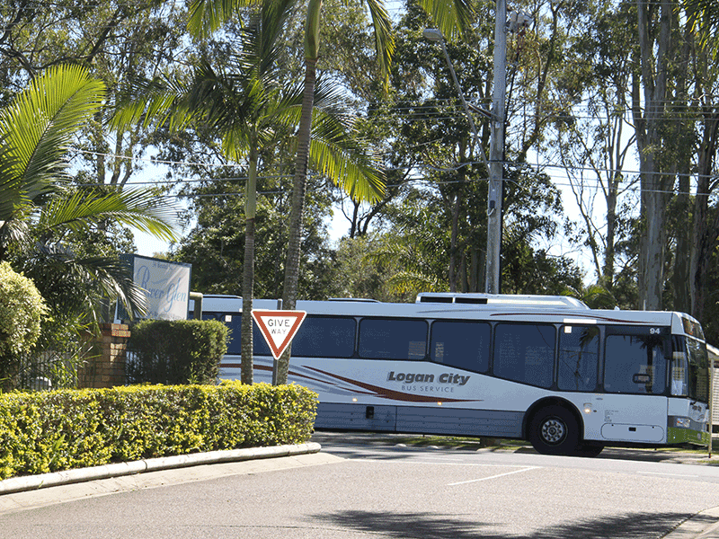 Bus at the front of River Glen Haven Village